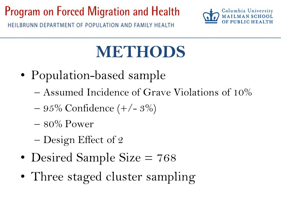 METHODS Population-based sample –Assumed Incidence of Grave Violations of 10% –95% Confidence (+/- 3%) –80% Power –Design Effect of 2 Desired Sample Size = 768 Three staged cluster sampling
