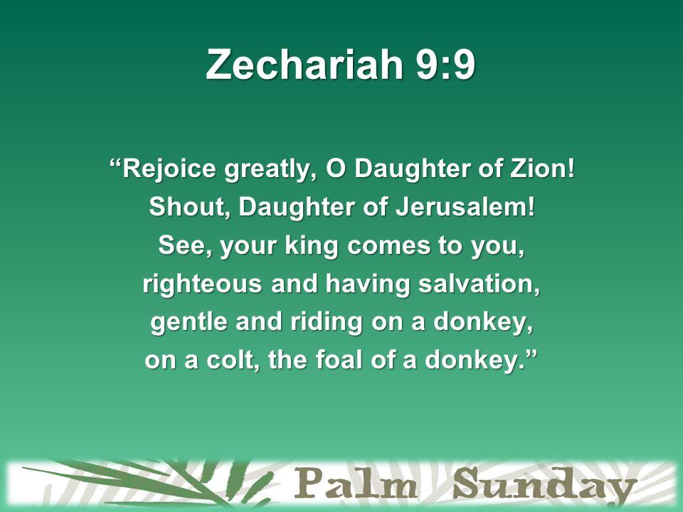 """Is He Your King? Matthew 21:1-13. Zechariah 9:9 """"Rejoice greatly ..."""