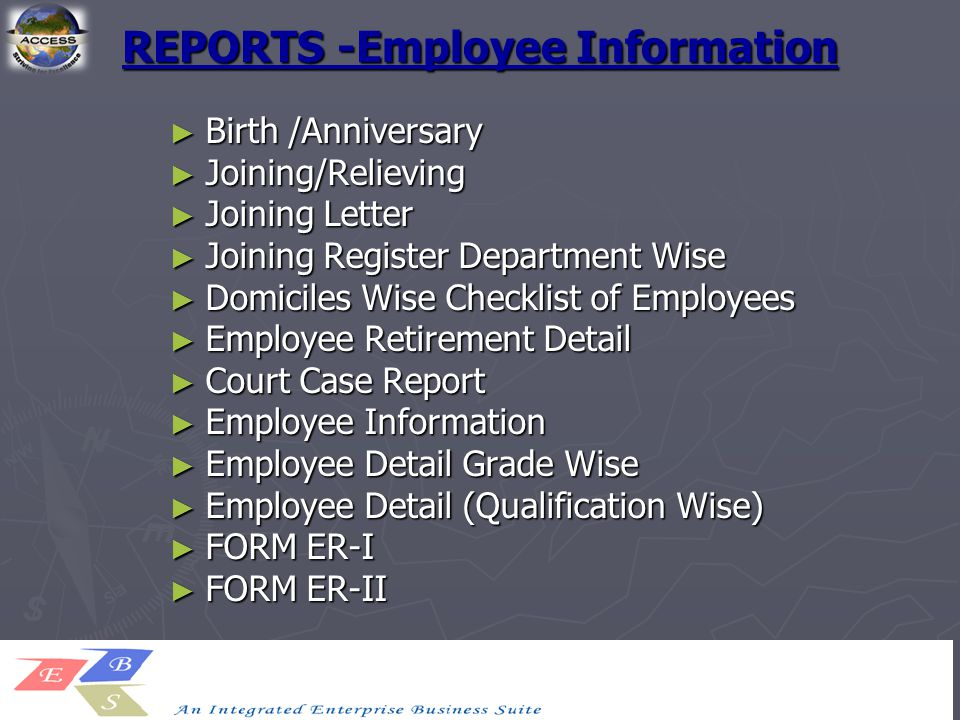 23 reports employee information