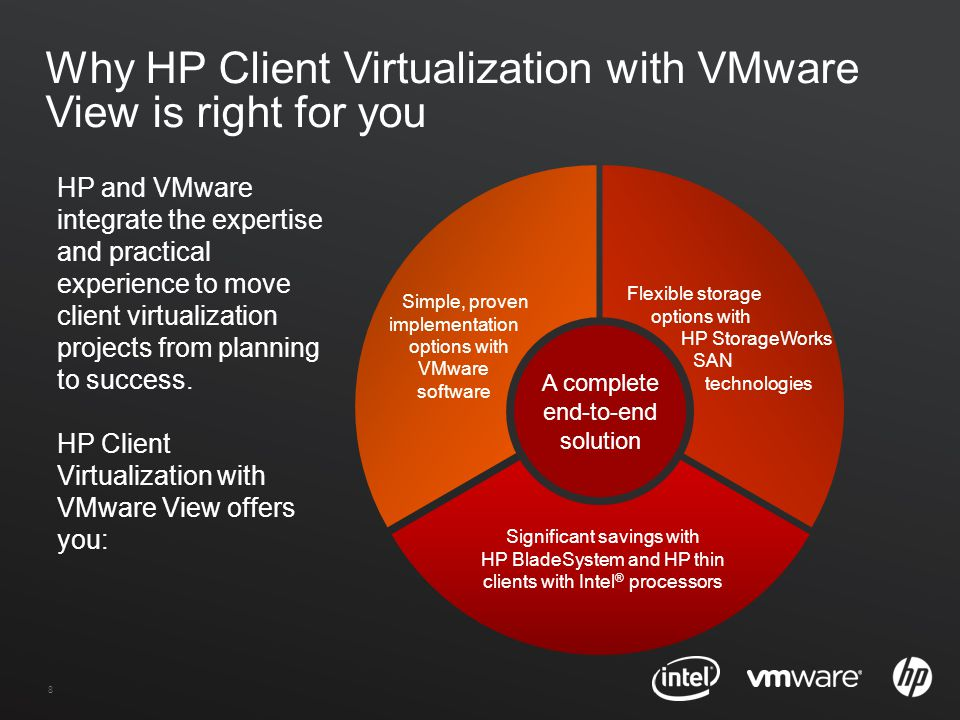 8 Why HP Client Virtualization with VMware View is right for you Significant savings with HP BladeSystem and HP thin clients with Intel ® processors Flexible storage options with HP StorageWorks SAN technologies Simple, proven implementation options with VMware software HP and VMware integrate the expertise and practical experience to move client virtualization projects from planning to success.
