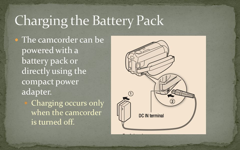 The camcorder can be powered with a battery pack or directly using the compact power adapter.