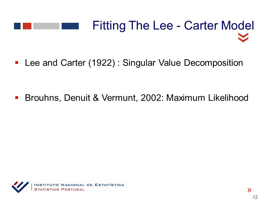 12 « «  Lee and Carter (1922) : Singular Value Decomposition  Brouhns, Denuit & Vermunt, 2002: Maximum Likelihood Fitting The Lee - Carter Model