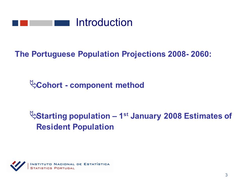 3 The Portuguese Population Projections 2008- 2060:  Cohort - component method  Starting population – 1 st January 2008 Estimates of Resident Population Introduction