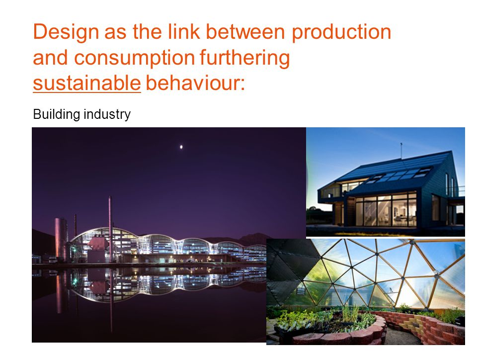Building industry Design as the link between production and consumption furthering sustainable behaviour: