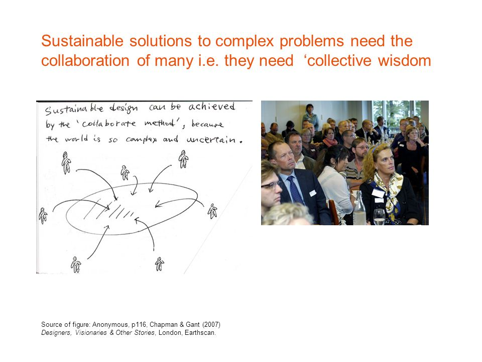 Sustainable solutions to complex problems need the collaboration of many i.e.