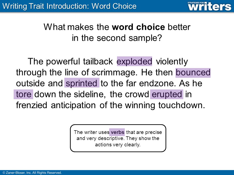 What makes the word choice better in the second sample.