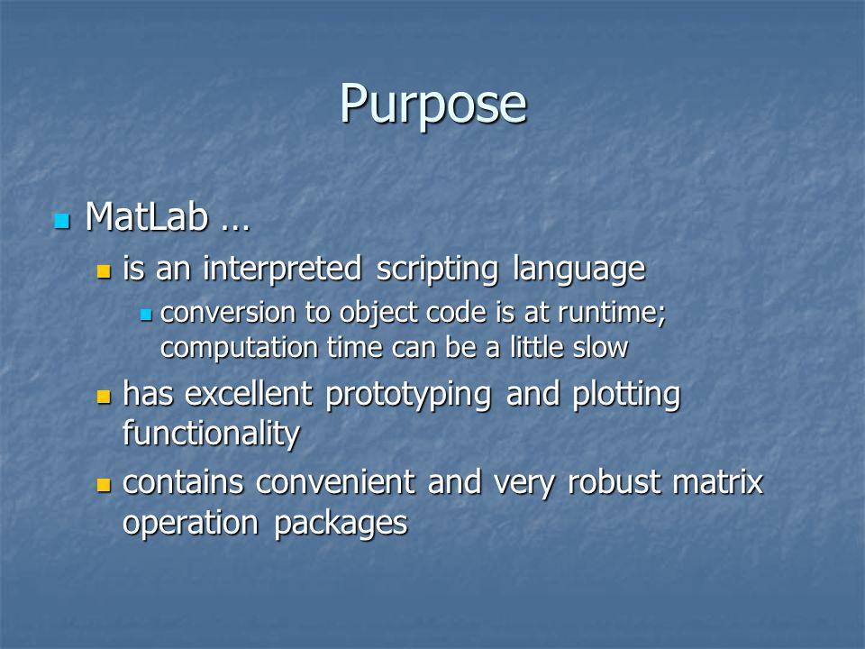 MatLab API in C++ Christopher Dabney  Purpose MatLab