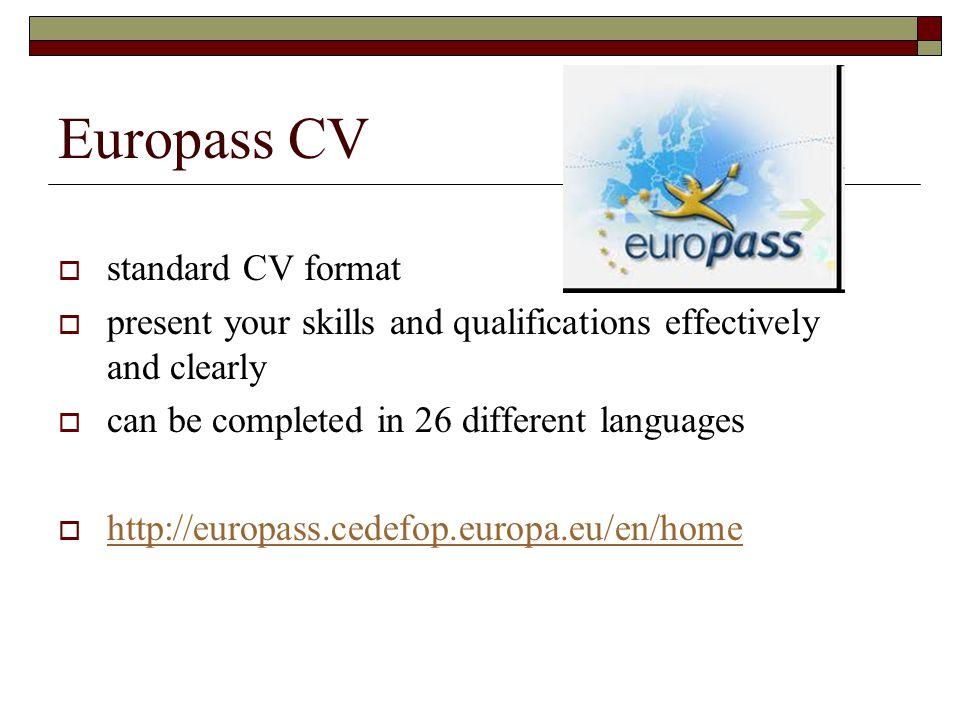 14 europass cv standard cv format