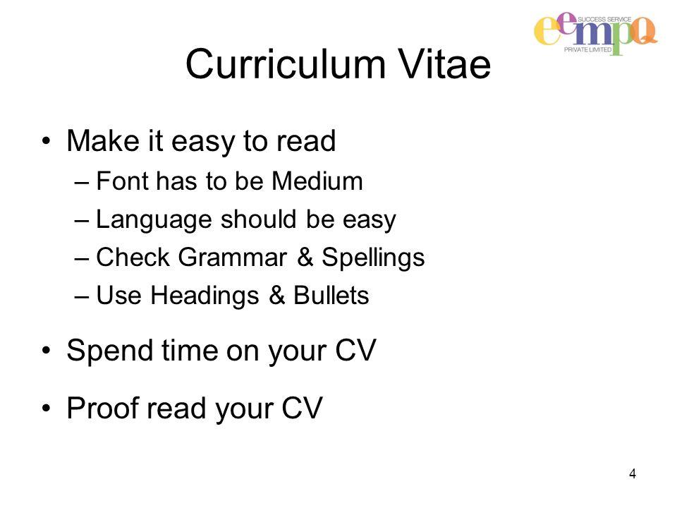 Success Service EEmpQ Private Limited 1 Curriculum Vitae CV Rules