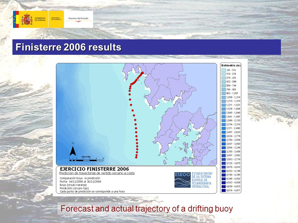 Forecast and actual trajectory of a drifting buoy Finisterre 2006 results
