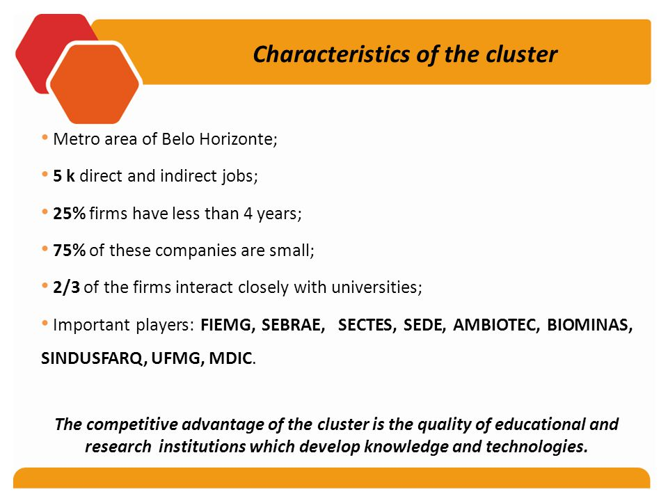 Characteristics of the cluster Metro area of Belo Horizonte; 5 k direct and indirect jobs; 25% firms have less than 4 years; 75% of these companies are small; 2/3 of the firms interact closely with universities; Important players: FIEMG, SEBRAE, SECTES, SEDE, AMBIOTEC, BIOMINAS, SINDUSFARQ, UFMG, MDIC.