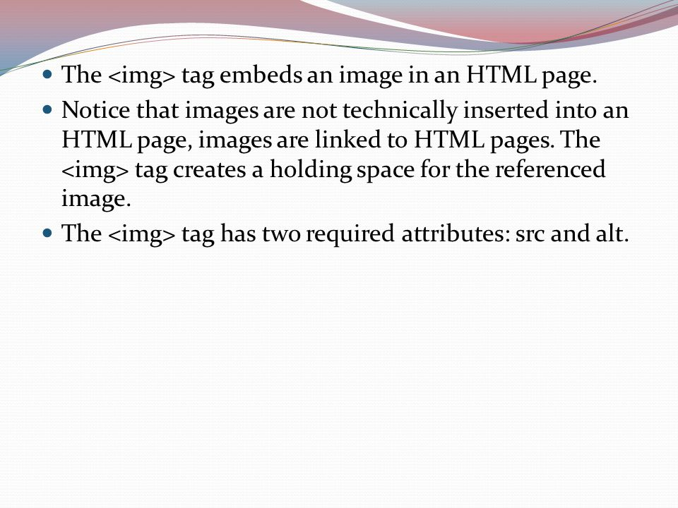 The tag embeds an image in an HTML page.