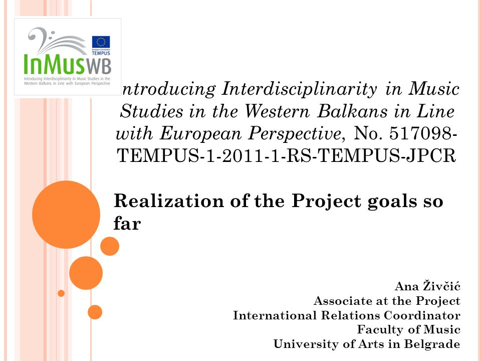 Introducing Interdisciplinarity in Music Studies in the Western Balkans in Line with European Perspective, No.
