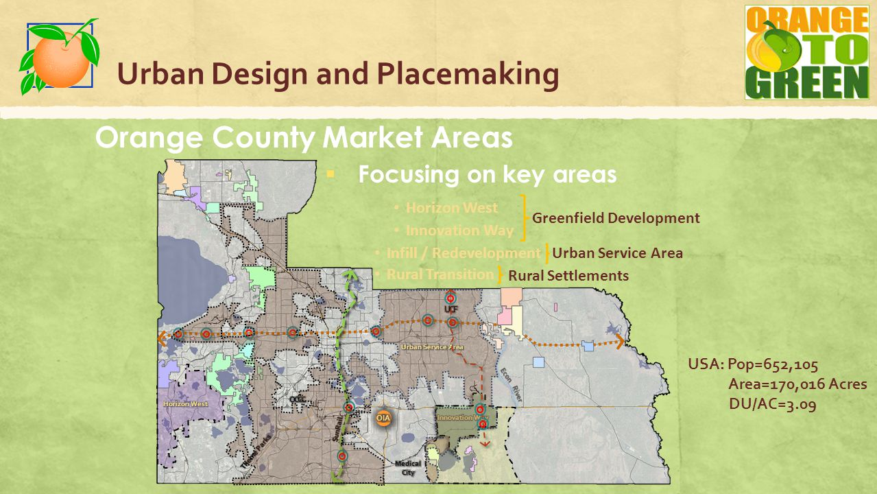 Urban Design and Placemaking Orange County Market Areas  Focusing on key areas Econ River Innovation Way Horizon West Greenfield Development Rural Transition Rural Settlements Infill / Redevelopment Urban Service Area USA: Pop=652,105 Area=170,016 Acres DU/AC=3.09