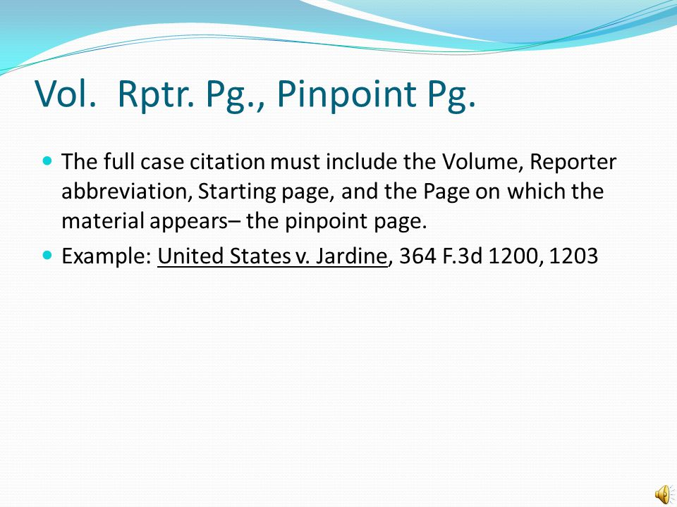 The reporter selection and citation The court and year