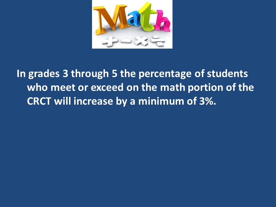 In grades 3 through 5 the percentage of students who meet or exceed on the math portion of the CRCT will increase by a minimum of 3%.