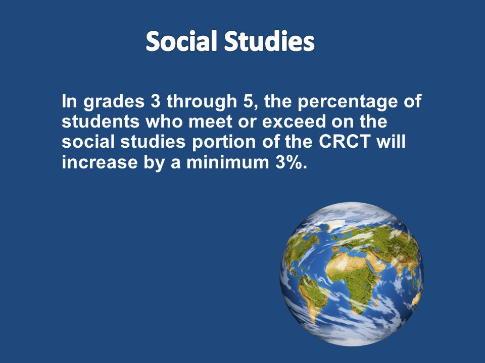 In grades 3 through 5, the percentage of students who meet or exceed on the social studies portion of the CRCT will increase by a minimum 3%.
