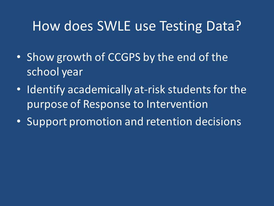 How does SWLE use Testing Data.