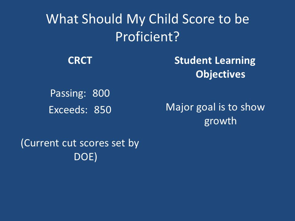 What Should My Child Score to be Proficient.