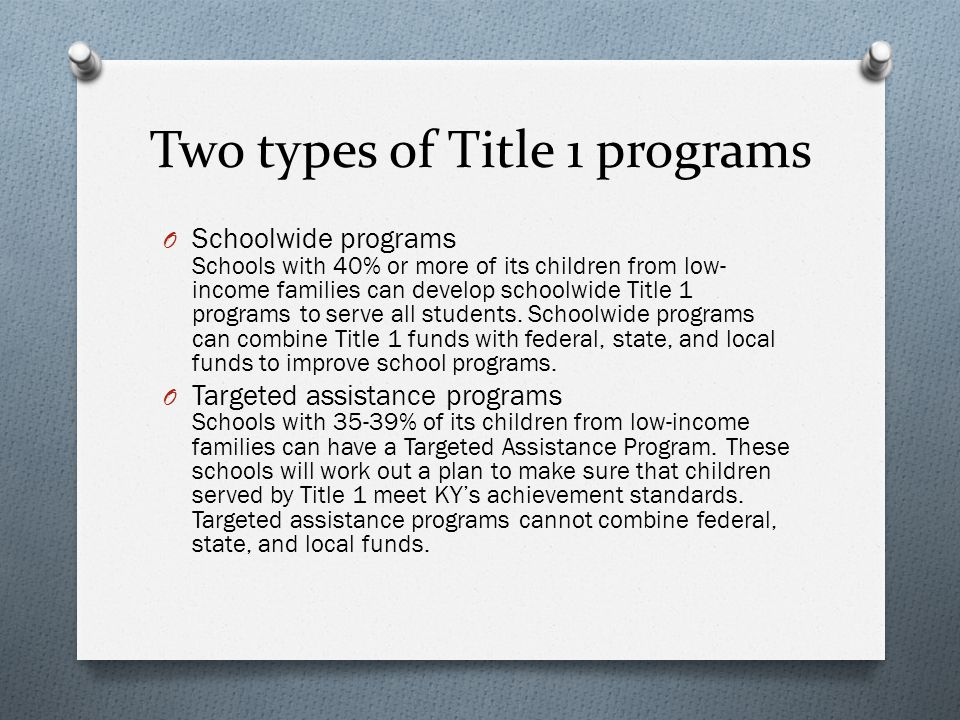 Two types of Title 1 programs O Schoolwide programs Schools with 40% or more of its children from low- income families can develop schoolwide Title 1 programs to serve all students.