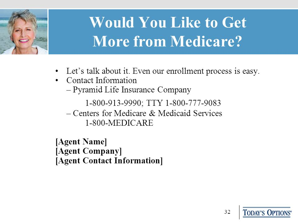 32 Would You Like to Get More from Medicare. Let's talk about it.