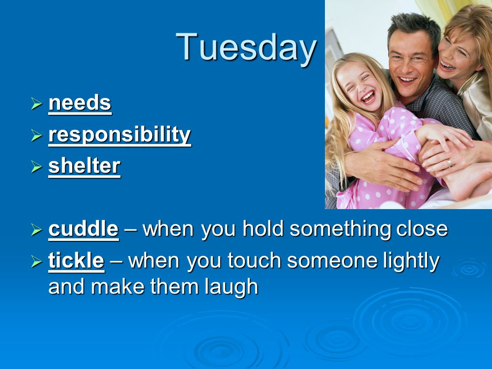 Tuesday  needs  responsibility  shelter  cuddle – when you hold something close  tickle – when you touch someone lightly and make them laugh