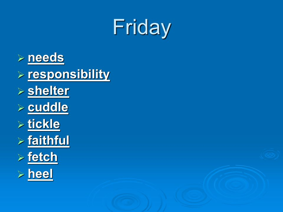 Friday  needs  responsibility  shelter  cuddle  tickle  faithful  fetch  heel