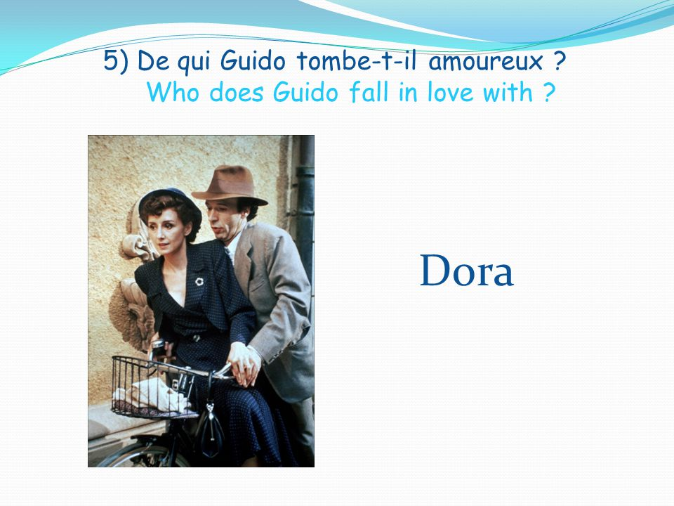 5) De qui Guido tombe-t-il amoureux Who does Guido fall in love with Dora