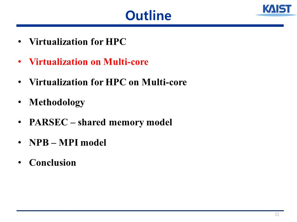 Outline Virtualization for HPC Virtualization on Multi-core Virtualization for HPC on Multi-core Methodology PARSEC – shared memory model NPB – MPI model Conclusion 11