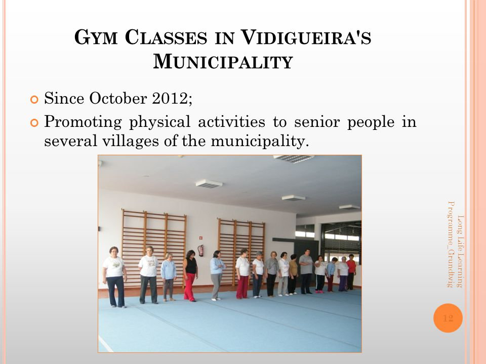 G YM C LASSES IN V IDIGUEIRA S M UNICIPALITY Since October 2012; Promoting physical activities to senior people in several villages of the municipality.
