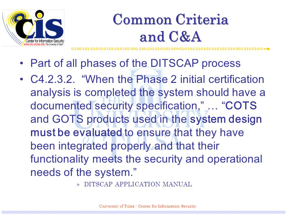 University Of Tulsa Center For Information Security Common