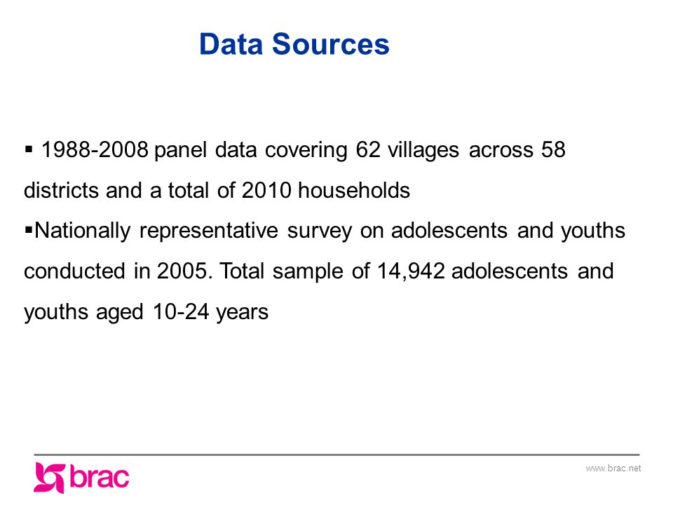 Data Sources  panel data covering 62 villages across 58 districts and a total of 2010 households  Nationally representative survey on adolescents and youths conducted in 2005.