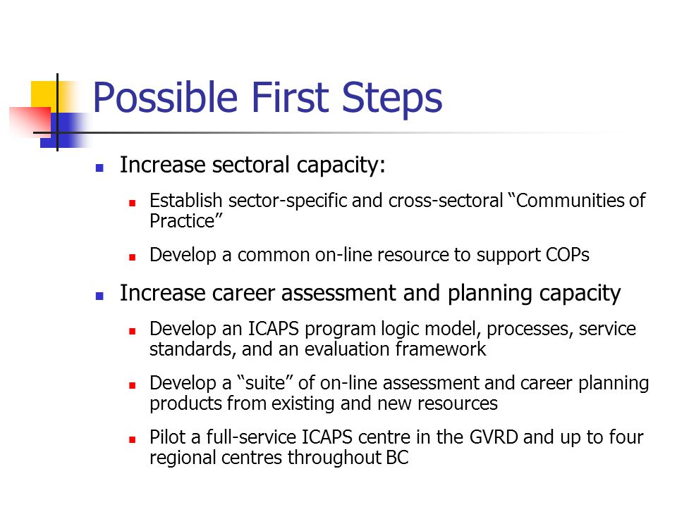 Possible First Steps Increase sectoral capacity: Establish sector-specific and cross-sectoral Communities of Practice Develop a common on-line resource to support COPs Increase career assessment and planning capacity Develop an ICAPS program logic model, processes, service standards, and an evaluation framework Develop a suite of on-line assessment and career planning products from existing and new resources Pilot a full-service ICAPS centre in the GVRD and up to four regional centres throughout BC
