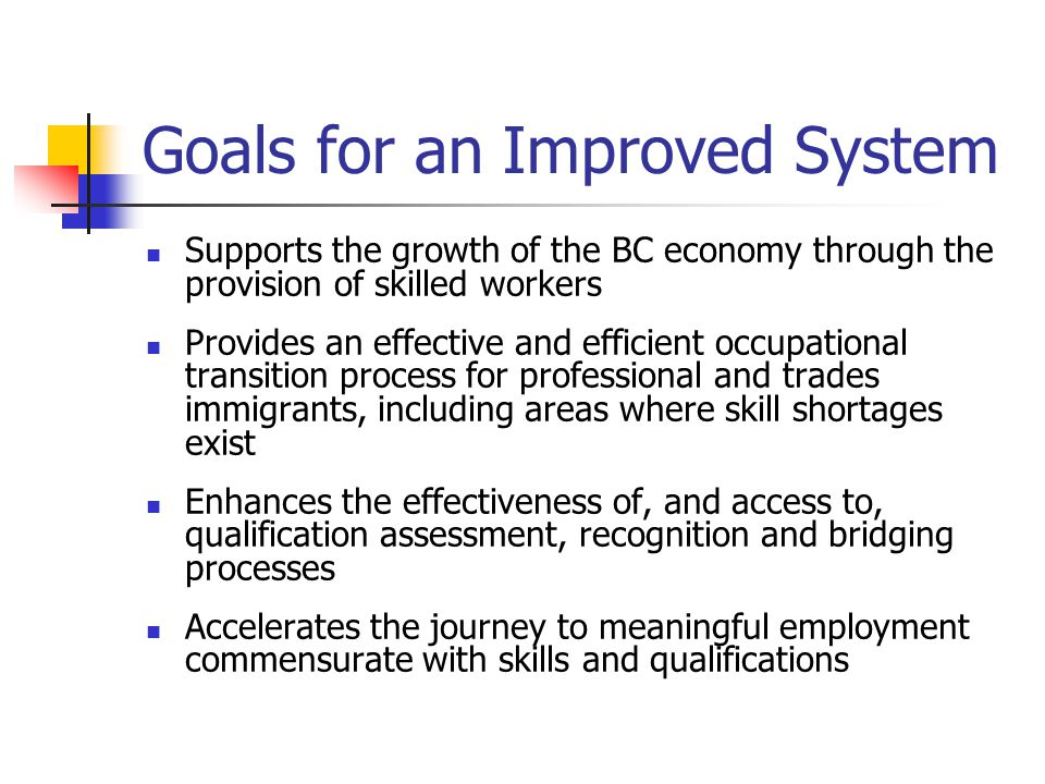Goals for an Improved System Supports the growth of the BC economy through the provision of skilled workers Provides an effective and efficient occupational transition process for professional and trades immigrants, including areas where skill shortages exist Enhances the effectiveness of, and access to, qualification assessment, recognition and bridging processes Accelerates the journey to meaningful employment commensurate with skills and qualifications