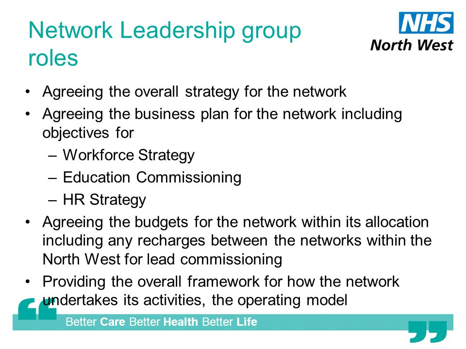 Better Care Better Health Better Life Network Leadership group roles Agreeing the overall strategy for the network Agreeing the business plan for the network including objectives for –Workforce Strategy –Education Commissioning –HR Strategy Agreeing the budgets for the network within its allocation including any recharges between the networks within the North West for lead commissioning Providing the overall framework for how the network undertakes its activities, the operating model