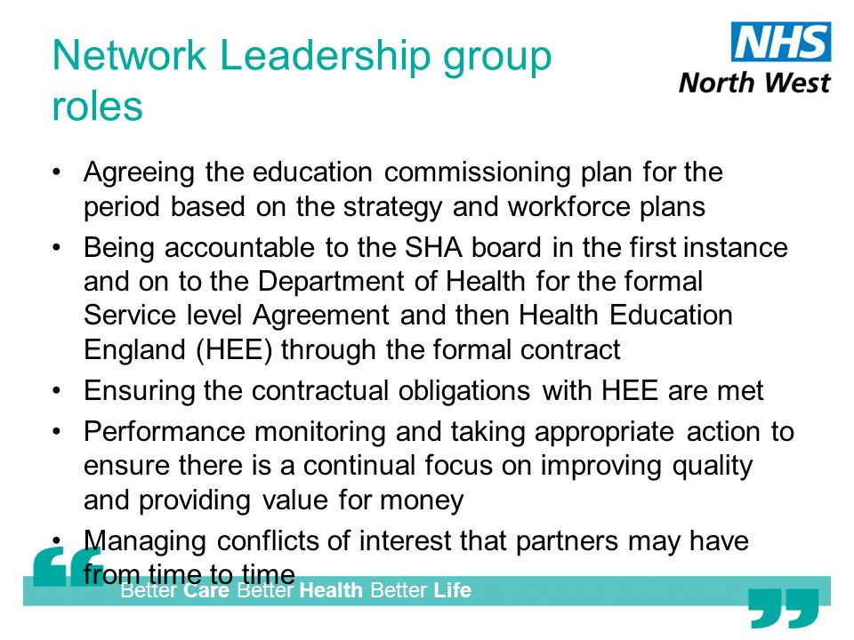 Better Care Better Health Better Life Network Leadership group roles Agreeing the education commissioning plan for the period based on the strategy and workforce plans Being accountable to the SHA board in the first instance and on to the Department of Health for the formal Service level Agreement and then Health Education England (HEE) through the formal contract Ensuring the contractual obligations with HEE are met Performance monitoring and taking appropriate action to ensure there is a continual focus on improving quality and providing value for money Managing conflicts of interest that partners may have from time to time
