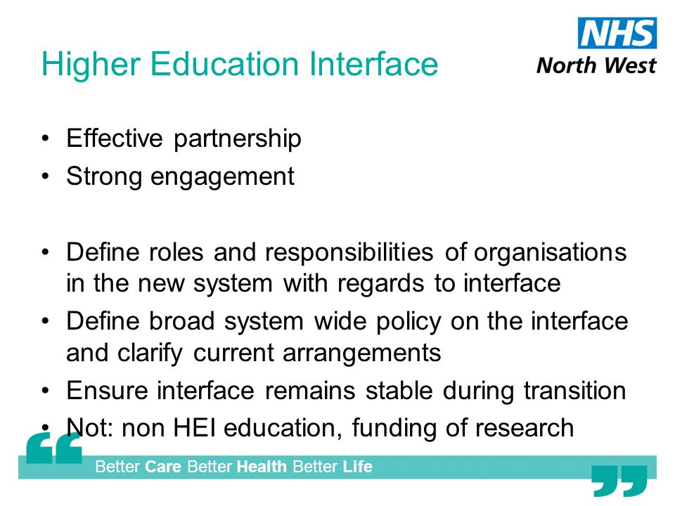 Better Care Better Health Better Life Higher Education Interface Effective partnership Strong engagement Define roles and responsibilities of organisations in the new system with regards to interface Define broad system wide policy on the interface and clarify current arrangements Ensure interface remains stable during transition Not: non HEI education, funding of research
