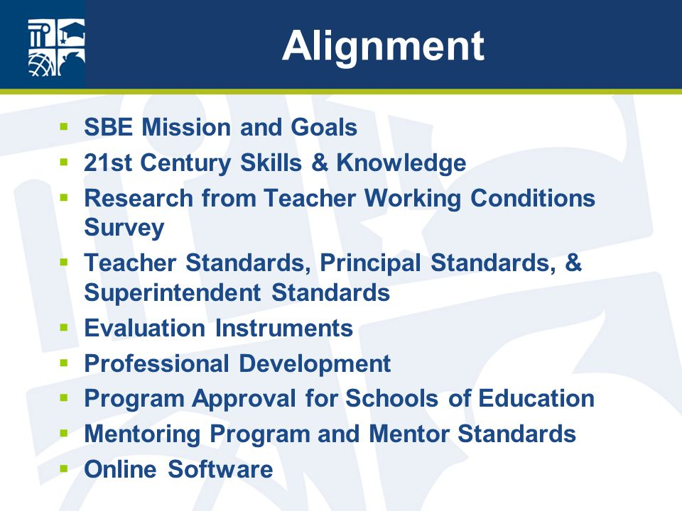 Alignment  SBE Mission and Goals  21st Century Skills & Knowledge  Research from Teacher Working Conditions Survey  Teacher Standards, Principal Standards, & Superintendent Standards  Evaluation Instruments  Professional Development  Program Approval for Schools of Education  Mentoring Program and Mentor Standards  Online Software