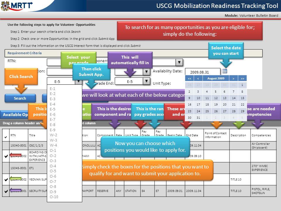USCG Mobilization Readiness Tracking Tool Module: Volunteer Bulletin