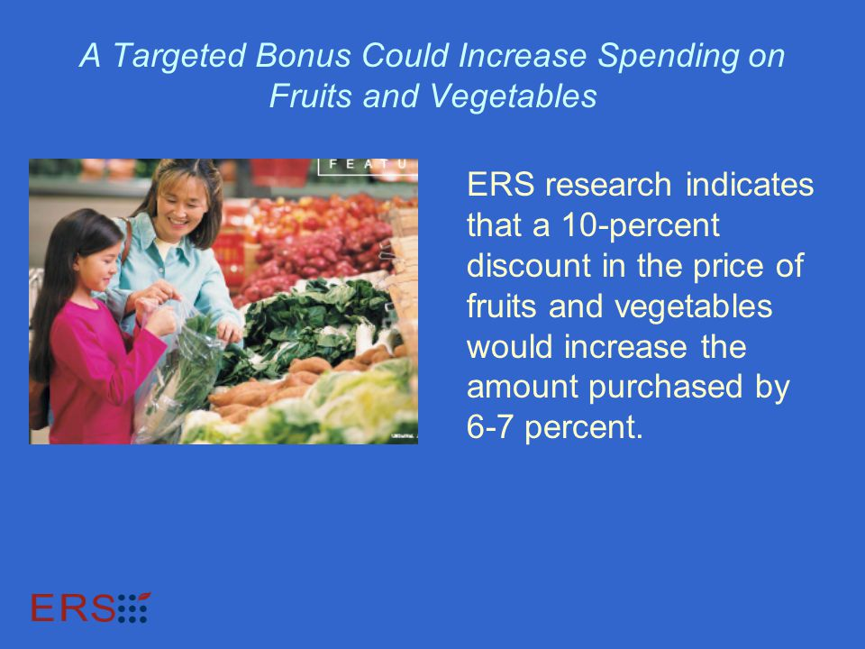 A Targeted Bonus Could Increase Spending on Fruits and Vegetables ERS research indicates that a 10-percent discount in the price of fruits and vegetables would increase the amount purchased by 6-7 percent.