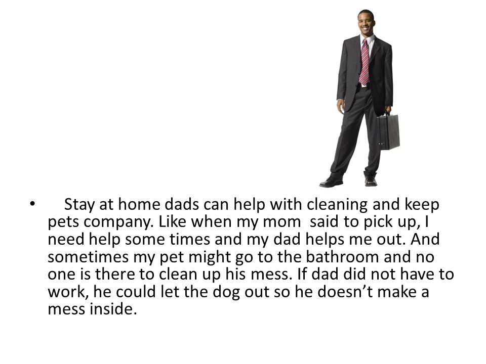 Stay at home dads can help with cleaning and keep pets company.