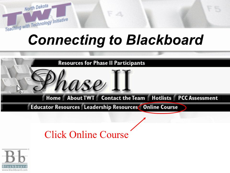 Connecting to Blackboard Click Online Course