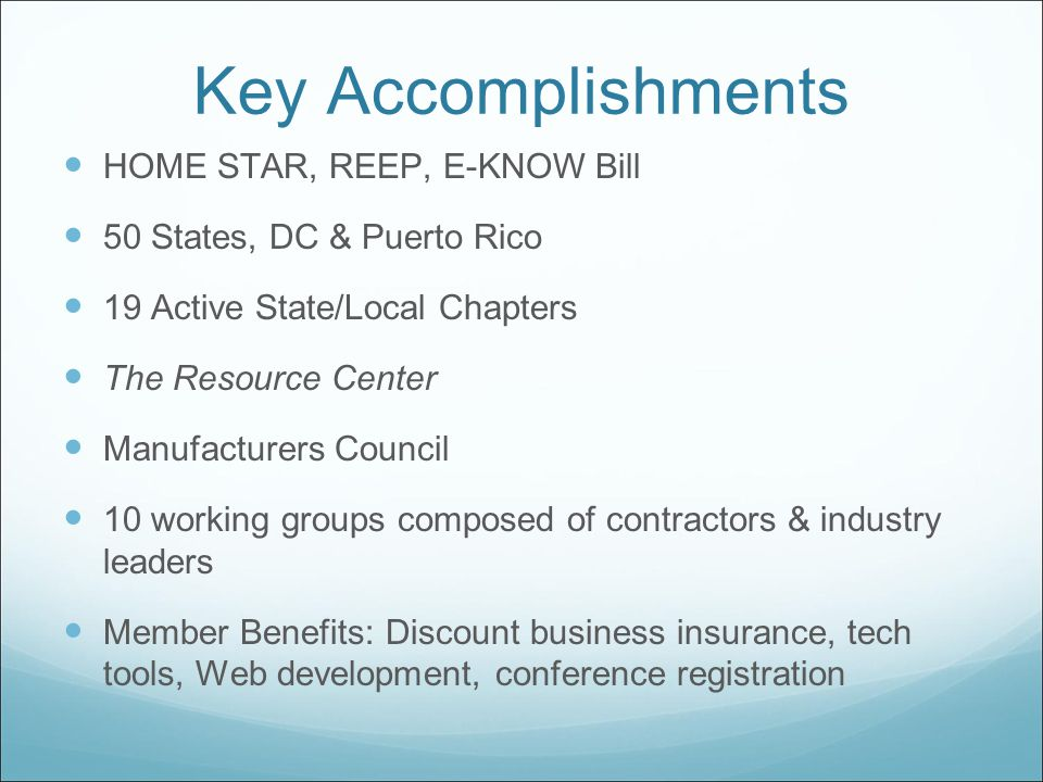 Key Accomplishments HOME STAR, REEP, E-KNOW Bill 50 States, DC & Puerto Rico 19 Active State/Local Chapters The Resource Center Manufacturers Council 10 working groups composed of contractors & industry leaders Member Benefits: Discount business insurance, tech tools, Web development, conference registration