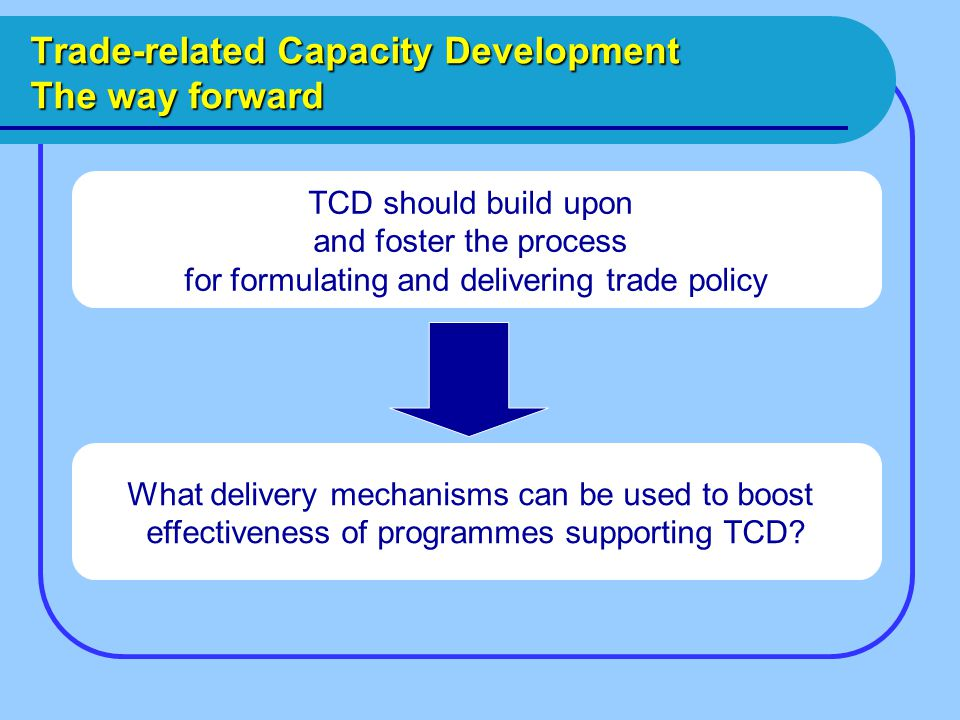 Trade-related Capacity Development The way forward TCD should build upon and foster the process for formulating and delivering trade policy What delivery mechanisms can be used to boost effectiveness of programmes supporting TCD