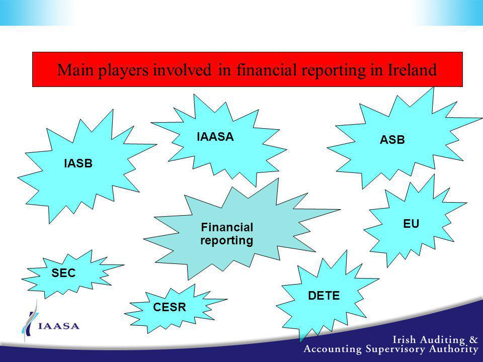 Main players involved in financial reporting in Ireland Financial reporting ASB IASB CESR IAASA EU DETE SEC