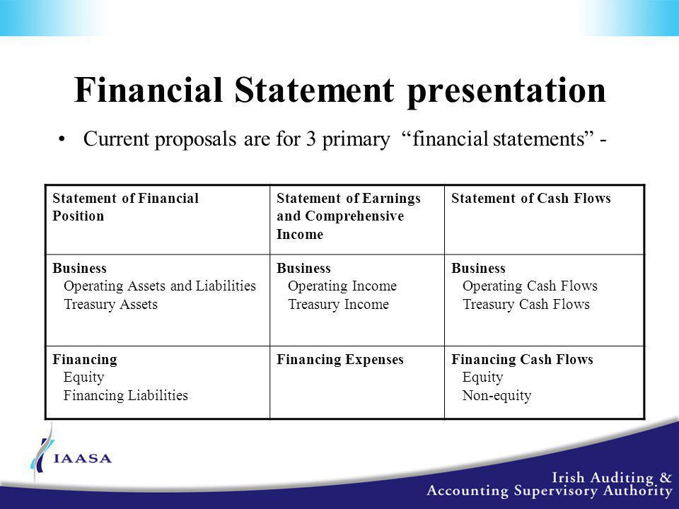 Financial Statement presentation Current proposals are for 3 primary financial statements - Statement of Financial Position Statement of Earnings and Comprehensive Income Statement of Cash Flows Business Operating Assets and Liabilities Treasury Assets Business Operating Income Treasury Income Business Operating Cash Flows Treasury Cash Flows Financing Equity Financing Liabilities Financing ExpensesFinancing Cash Flows Equity Non-equity
