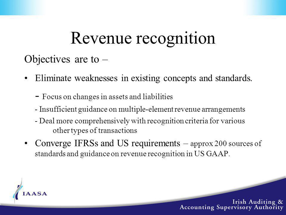 Revenue recognition Objectives are to – Eliminate weaknesses in existing concepts and standards.