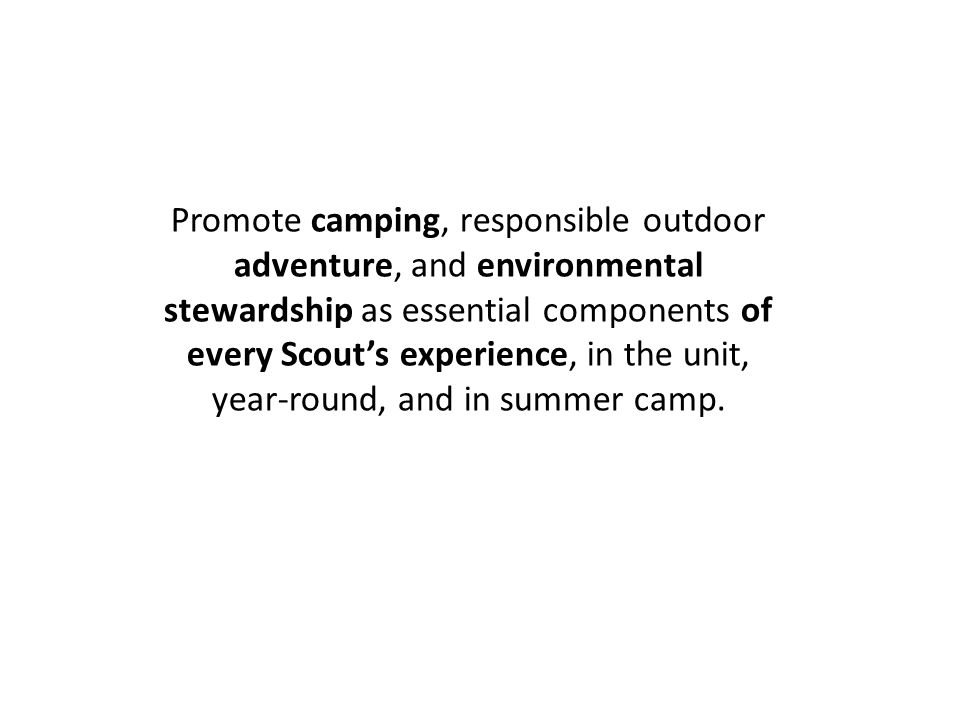 Promote camping, responsible outdoor adventure, and environmental stewardship as essential components of every Scout's experience, in the unit, year-round, and in summer camp.