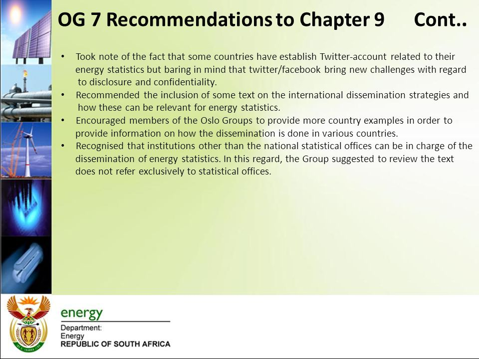 OG 7 Recommendations to Chapter 9 Cont..