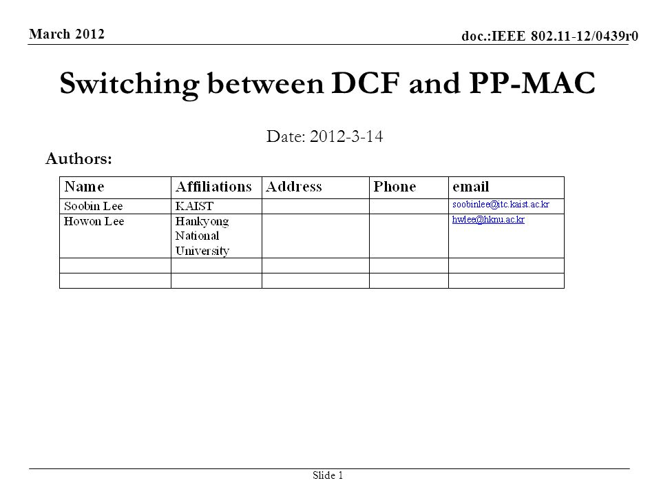 doc.:IEEE /0439r0 March 2012 Switching between DCF and PP-MAC Date: Slide 1 Authors: